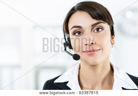 Female Call Center Service Operator