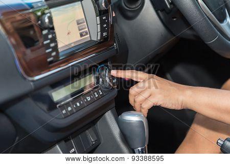 Driver Hand Press Air-con Button In The Car