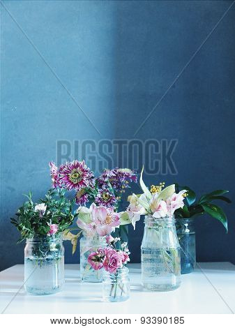 delicate flowers on gray background