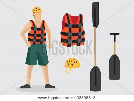 Vector Character And Equipment For Water Sports Outdoor Adventure