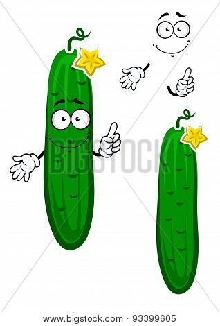 Cartoon crunchy cucumber vegetable character