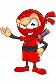 An illustration of a sneaky cartoon Ninja character dressed in red. poster