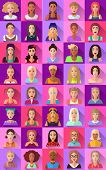 Very big set of various trendy hipster flat style square shaped female and male character icons with shadows. Represents different subcultures age race nationality and lifestyles. poster