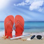 Beach with flip flops sandals and bottle post in summer vacation travel holidays poster