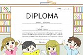 Cartoon Kindergarten and elementary school children Diploma certificate with library background design template layout with sample text create by vector poster