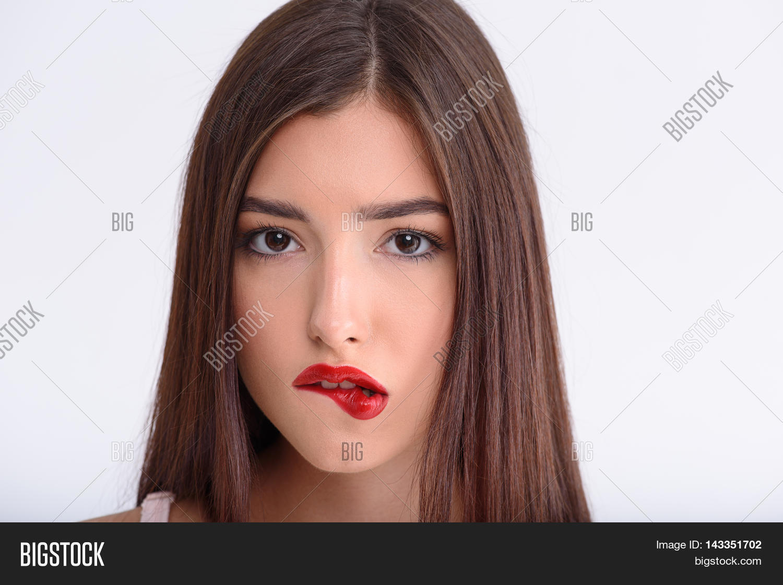 Girl biting lip