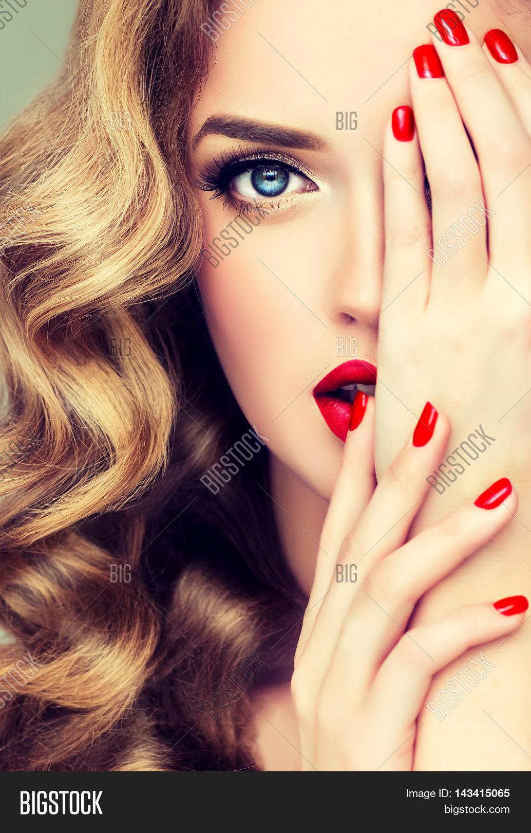 Beautiful Blonde Model Girl Long Image & Photo