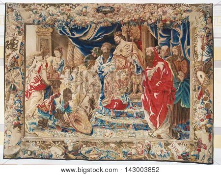 MAFRA PORTUGAL - JULY 17 2016: Famous Tapestry depicting a Portuguese King at the Hall of Diana in Mafra Palace Portugal