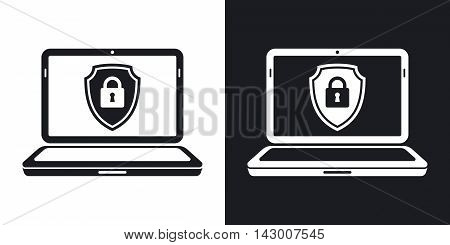 Vector Laptop Icon With A Protective Shield Symbol On A Screen. Two-tone Version Of Locked Laptop Si