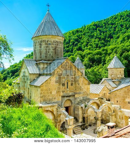 The beautiful renovated Haghartsin Monastery located in mountains next to Dilijan Armenia.