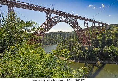 Viaduct of Garabit by Eiffel in Auvergne region.