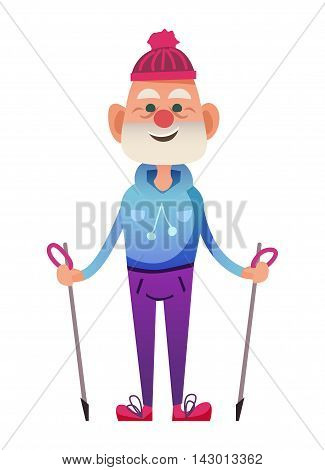 Cute senior man with poles for Nordic walking. Winter senior sportsmen in funny hat. Isolated on white background.