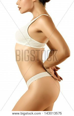 sexy girl in underwear of white color perfect figure