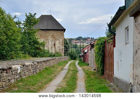 LEVOCA SLOVAKIA - AUGUST 18 2015: Old walls and buildings in Levoca Town Slovakia.