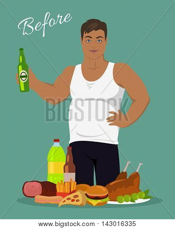 Man before weight loss. Fat young man near the junk food. Person with big belly prefers tasty, but unhealthy food. Part of series of promotion healthy diet and good fit. Vector illustration