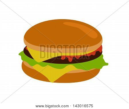Gamburger banner. Hamburger with meat lettuce cheese onion and tomato. Junk food. Consumption of high calories nourishment fast food. Part of series of promotion healthy diet and good fit. Vector