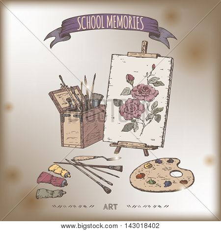 Vintage color art tools hand drawn sketch placed on old paper background. School memories collection. Great for school, education, art shop, retro design.