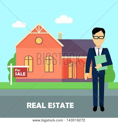 Real estate realtor on the background of red house with purple roof. Real estate agent, house building, property home, realtor and rent, sale housing, buy apartment. Real estate concept.
