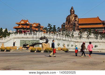 GUANGZHOUCHINA - JANUARY 1:Laozi statue in yuanxuan taoist temple JAN 12015 Guangzhou China. Laozi statue in yuanxuan taoist temple guangzhou