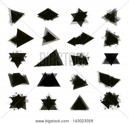 A collection of stand-alone monochrome black elements for design of posters cards brochures and site titles. Isolated objects on white background can be edited 2. Vector illustration