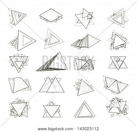 The monochrome gray set isolated elements for design of posters maps brochures and headers architectonic sites. Isolated objects on white background can be edited. Vector illustration