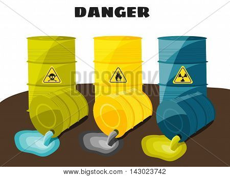 Waste products flow from the barrels with the sign of dangerous. Vector illustration