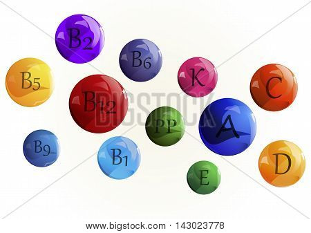 Vector image. Vitamins set. Vitamin A Retinol B complex C Ascorbic acid D Calciferol E Tocopherol acetate K naphthoquinone , PP nicotinic acid