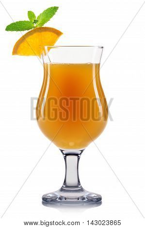 Yellow cocktail in hurricane glass isolated on white background.