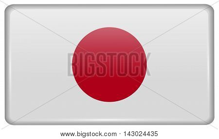 Flags Japan In The Form Of A Magnet On Refrigerator With Reflections Light. Vector