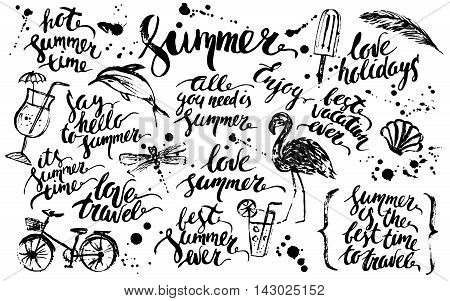 Hand drawn ink summer design element set. Rough black ink summer lettering with cocktail bike dolphin flamingo dragonfly popsicle ink drops palm leaf.