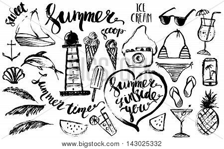 Hand drawn ink summer designelement set. Rough black ink sketch of fruit cocktail lighthouse dolphin boat shades bikini smartphone camera with summer lettering.