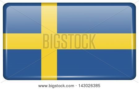 Flags Sweden In The Form Of A Magnet On Refrigerator With Reflections Light. Vector