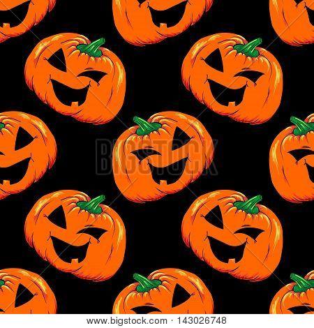 Halloween jack-o-lantern orange pumpkin vegetable seamless pattern vector