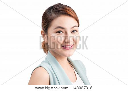 Portrait of a young attractive business woman isolated on white background