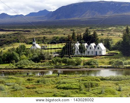 View over Thingvellir National Park, the Viking Parliament, Iceland