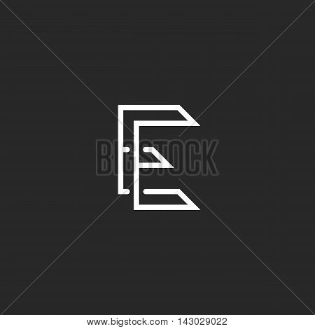 Logo E Letter Monogram Ee Combination, Initial Business Card Emblem Mockup, Intersection Thin Lines