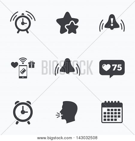 Alarm clock icons. Wake up bell signs symbols. Exclamation mark. Flat talking head, calendar icons. Stars, like counter icons. Vector