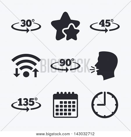 Angle 30-135 degrees icons. Geometry math signs symbols. Full complete rotation arrow. Wifi internet, favorite stars, calendar and clock. Talking head. Vector