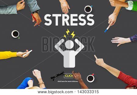 Stress Headache Migraine Panic Tension Unhappy Concept