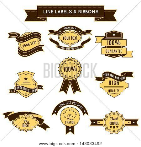 Colored conceptual label set with ribbons on premium quality and 100 percent guaranty themes vector illustration