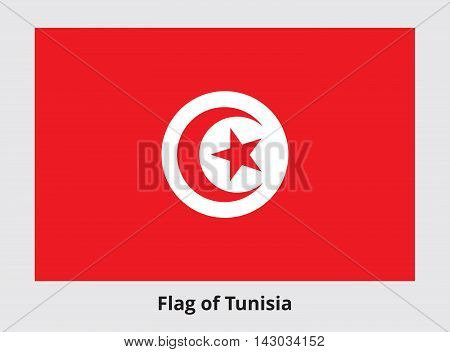 Flag of Tunisia. Rectangular banner with crescent surrounding five-pointed star in the center. Tunisian state symbol. Proper colors and proportions. Vector eps8 illustration.
