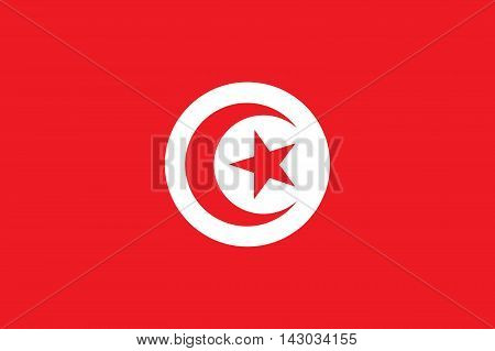 Flag of Tunisia. Tunisian state symbol. Rectangular banner with crescent surrounding five-pointed star in the center. Proper colors and proportions. Vector eps8 illustration.