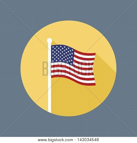 USA national flag on flagstaff vector flat icon. Vector icon of American flag in flat style with long shadow. Flat icon with star-spangled banner in circle. Vector illustration in EPS8 format.