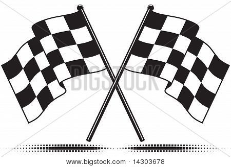 Vector checkered flags - reached the goal