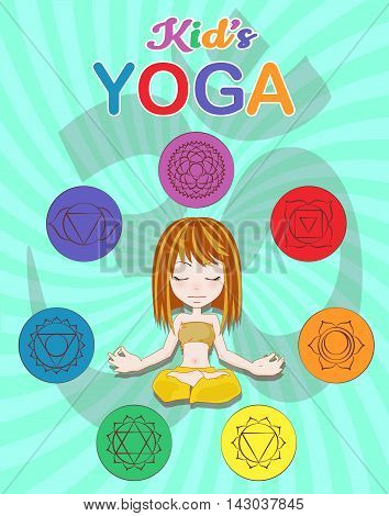 Little girl sitting in a yoga position , Chakra pictograms on choku rei symbol , vector illustration