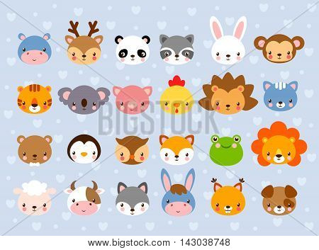 Big vector set with animal faces. Collection of cute baby animals in cartoon style on a blue background. Wild and domestic animals.