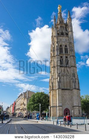 BORDEAUX FRANCE - MAY 06 2015: Tower Pey Berland named for its patron Pey Berland is located in Bordeaux at the Place Pey Berland next to Cathedrale Saint-Andre