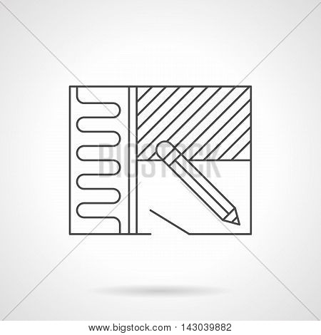 Symbol of renovation or home improvement with installing of heated floor. Construction, repair, flooring services. Flat line style vector icon.