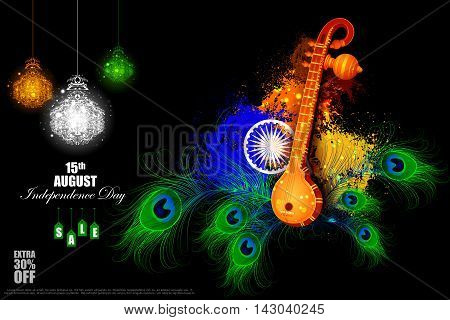 easy to edit vector illustration of Indian Independence Day celebration background