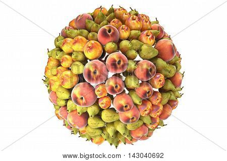 Fruits isolted on white background. High quality 3d rendering